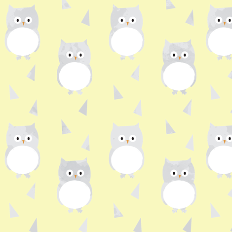 Owl Babies Winter Feathers - Yellow fabric by papercanoefabricshop on Spoonflower - custom fabric