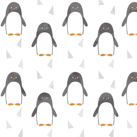 Ice Cold Penguins - White fabric by papercanoefabricshop on Spoonflower - custom fabric