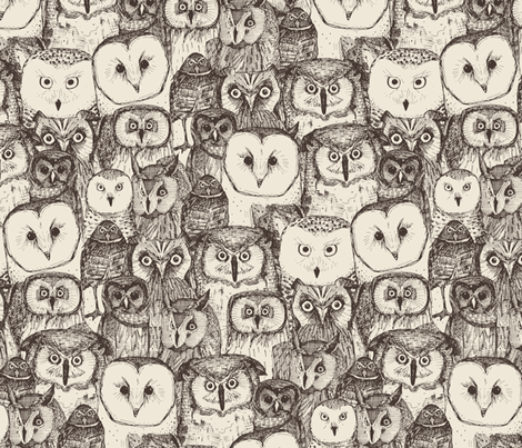 just owls natural fabric by scrummy on Spoonflower - custom fabric
