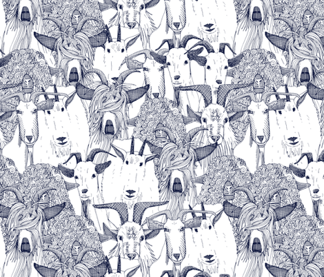 just goats blue fabric by scrummy on Spoonflower - custom fabric