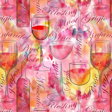 Let's drink wine fabric by vo_aka_virginiao on Spoonflower - custom fabric