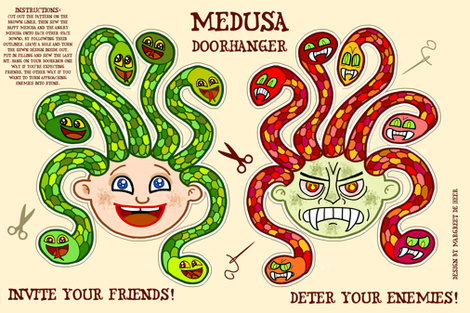 Medusa doorhanger plushie fabric by margreetdeheer on Spoonflower - custom fabric