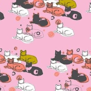 Pink, coral, black, and white cats