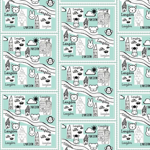 City Scapes Quilt  -Sea foam personalized