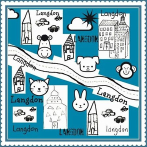 City Scapes Quilt  - Perfect Blue personalized