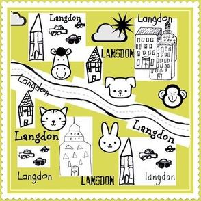 City Scapes Quilt  - Lemon Grass-personalized