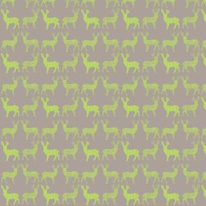 Lime Deer on Gray Meadow Deer on Gray