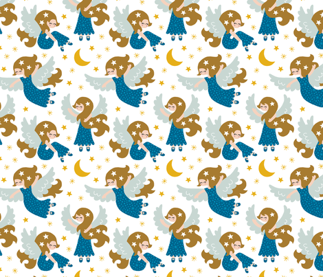 Angels in the sky blue fabric by heleen_vd_thillart on Spoonflower - custom fabric