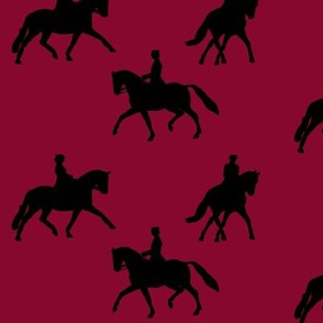 Dressage silhouettes in red