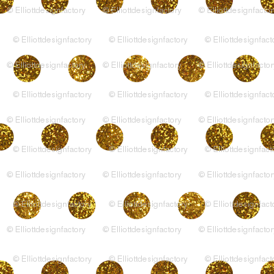 Gold Glitter Polka Dots in White Quartz