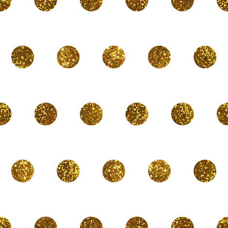 Gold Glitter Polka Dots in White Quartz fabric by elliottdesignfactory on Spoonflower - custom fabric