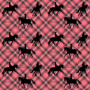 Dressage Silhouettes on Red and Black Plaid