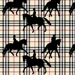 Dressage silhouettes on light plaid