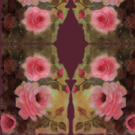 Roses in Burgundy fabric by deercreekartworks on Spoonflower - custom fabric