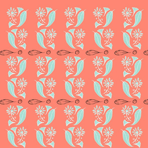 Leaves and flower -mint and coral