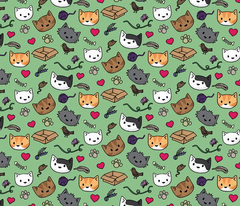 green fabric by doodlecats on Spoonflower - custom fabric