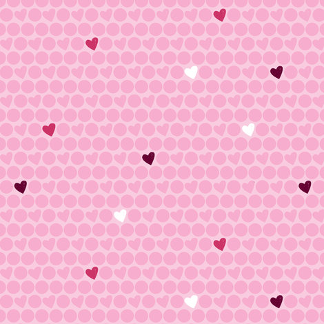 Pink Heart Polka Dots fabric by marcelinesmith on Spoonflower - custom fabric
