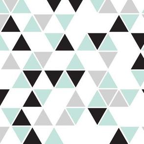 white background mint, black gray triangles