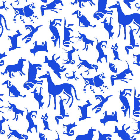 Blue Stencil Dogs fabric by eclectic_house on Spoonflower - custom fabric