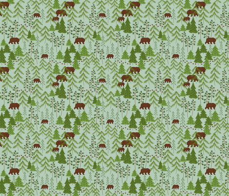 Bears In The Woods Green fabric by bags29 on Spoonflower - custom fabric