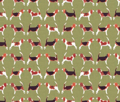Beagle Meets Beagle | Green fabric by imaginaryanimal on Spoonflower - custom fabric