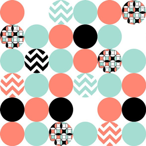 Coral, Mint, Black and White Polka Dots