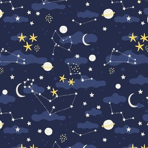 Cartoon cosmos fabric design - moon, planets, space and stars