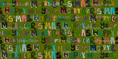green merry christmas happy new year