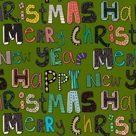green merry christmas happy new year fabric by scrummy on Spoonflower - custom fabric
