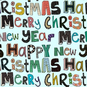 palest aqua merry christmas happy new year