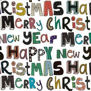 white merry christmas happy new year