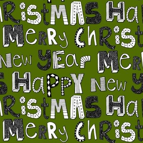 green simple merry christmas happy new year