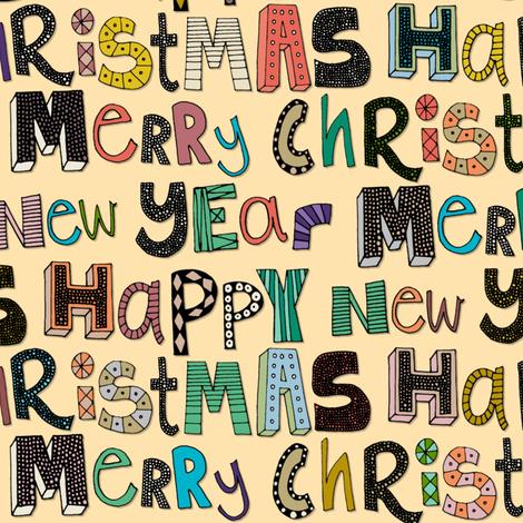 cream merry christmas happy new year fabric by scrummy on Spoonflower - custom fabric