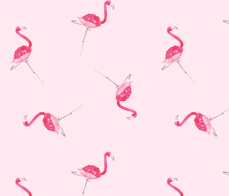 Scattered Pink Flamingos, Pink fabric by mariorr on Spoonflower - custom fabric