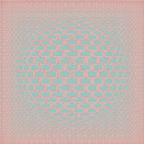 18 x 18 Aqua and Peach Psycho Checkerboard