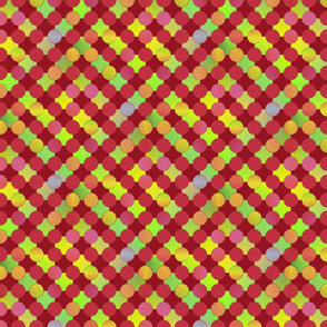 Red and Chartreuse Dotted Checkerboard