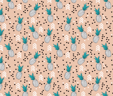 geometric summer pineapple ananas illustration with arrows and hearts gender neutral scandinavian style design in tropical fruit theme fabric by littlesmilemakers on Spoonflower - custom fabric
