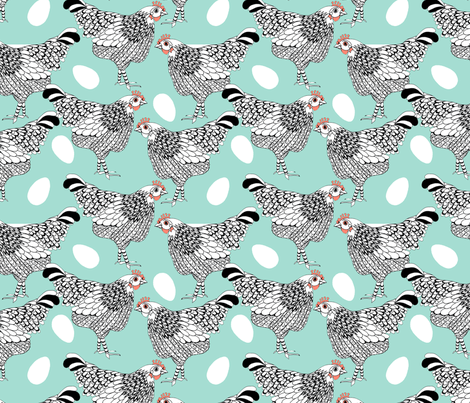 The chicken and the egg fabric by weejock on Spoonflower - custom fabric