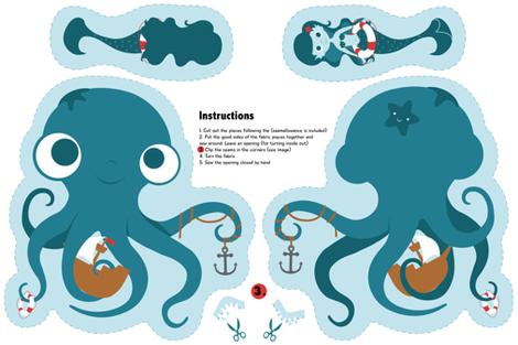 Kraken_and_mermaid_combo_plushie fabric by marmaladeparade on Spoonflower - custom fabric