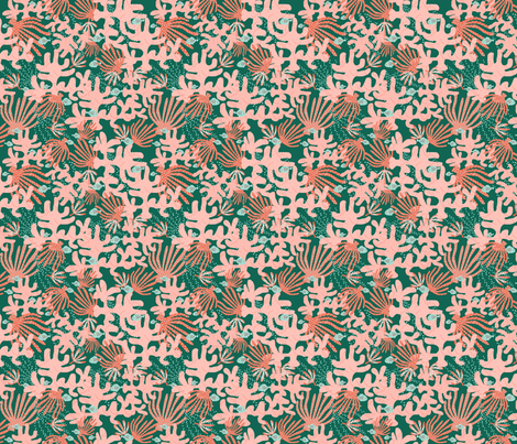 Coral And Fish On Green fabric by bags29 on Spoonflower - custom fabric