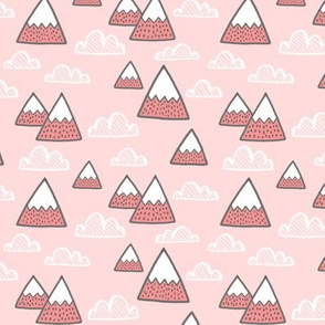 mountains in pink