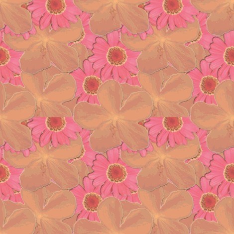 Tangerine and Strawberry Ice Floral fabric by coveredbydesign on Spoonflower - custom fabric
