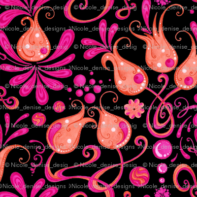 Bodacious Buds- Flowers- Pink- Small- Black Background