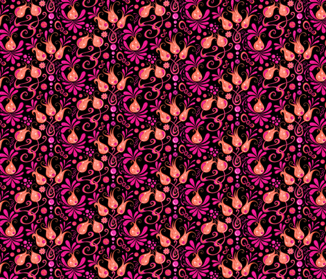 Bodacious Buds- Flowers- Pink- Small- Black Background fabric by nicole_denise_designs on Spoonflower - custom fabric