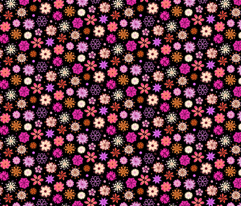 Fancy Flowers- Ornate Pink- Small- Black Background fabric by nicole_denise_designs on Spoonflower - custom fabric