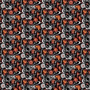 Hearts- Swirly- Orange Flowers- Small- Black Background