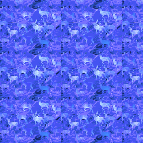 Bucks in blue flames design-ed fabric by haylar on Spoonflower - custom fabric