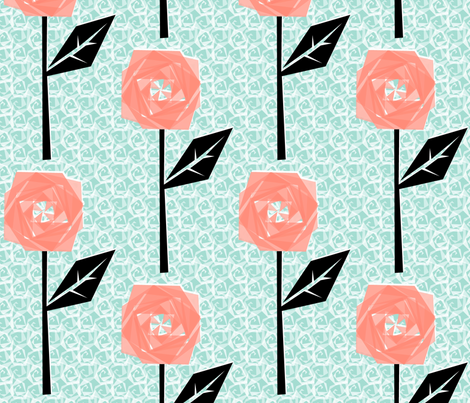 Coral Rose fabric by moirarae on Spoonflower - custom fabric