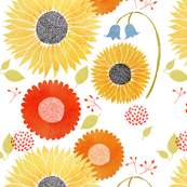 Sunflower bluebell pattern