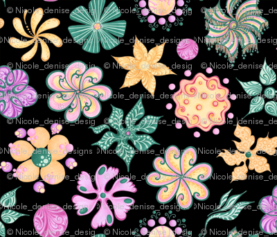 Celebrational Flowers- Small- Black Background- Green, Pink, Yellow Ornate Flowers Blooms